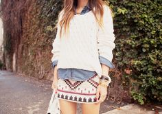 Aztec print skirt + baggy sweater over denim :) cute! #outfits