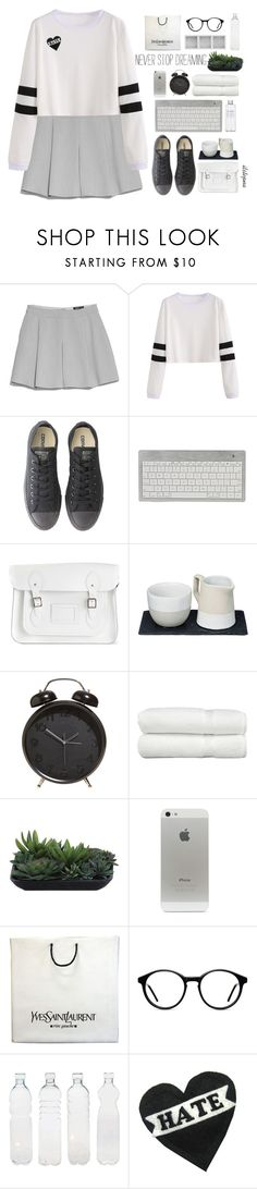 """run up"" by itstepna ❤ liked on Polyvore featuring MANGO, Converse, The Cambridge Satchel Company, The Just Slate Company, Muji, Linum Home Textiles, Lux-Art Silks, Yves Saint Laurent, Holga and Seletti"