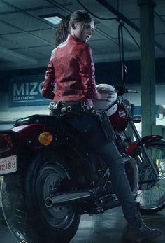 So Cool : Red jacket red motorcycle Tyrant Resident Evil, Resident Evil Video Game, Resident Evil Girl, Resident Evil 3 Remake, Valentine Resident Evil, Leon S Kennedy, Fictional Heroes, Alone Girl, Horror Video Games