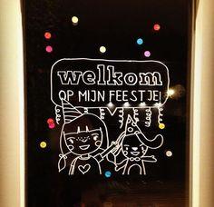 Welkom feestje #raamtekening door Heleen H.