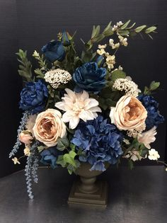 5 x rosas gris arte flores-seidenblumen