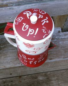 Another Repurposed Aluminum Coffee Pot painted up in Red Toile. $30.00