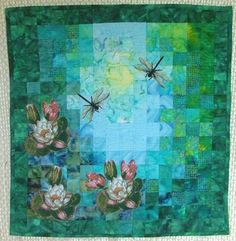 Advanced Embroidery Designs. Free Projects and Ideas. Nimpheas Watercolor quilt with embroidery.