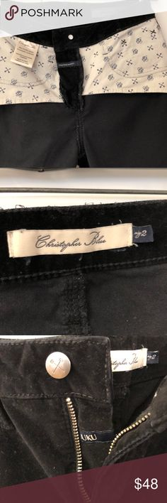 JEANS by CHRISTOPHER BLUE. ( Black ) His Jeans, Pants has been comfortable and.starchy.      98%, Cotton, 2% Spandex / Elasthan,       He use Quality Fabric.       This Jeans...,,.,  2 Reg, feels like 4 Reg...... Jeans Skinny