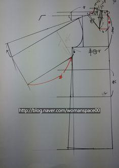 [하이넥프렌치소매코트] 패턴그리기 : 네이버 블로그 Pattern Drafting, Pattern Making, Line Chart, Sewing, How To Make, Blog, Kimono, Manga, Sleeve