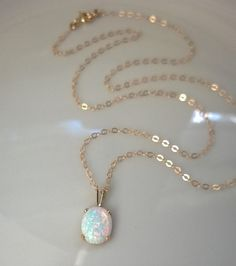 Oval opal necklace 14Kt gold filled gold opal necklace by AllDanae This seems to be the one