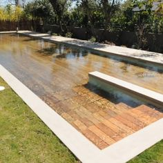 This insane disappearing pool cover doubles as a deck Backyard Pool Landscaping, Backyard Pool Designs, Small Backyard Pools, Small Pools, Infinity Pool Backyard, Small Inground Pool, Courtyard Pool, Swimming Pools Backyard, Swimming Pool Designs