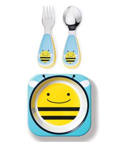 This Yellow Bee Zoo Bowl & Utensil Set by Skip Hop is perfect! #zulilyfinds