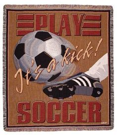 It's A Kick Soccer Sports Tapestry Throw