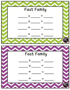 Freebie Fact Family Template for Multiplication & Division https://www.teacherspayteachers.com/Product/Freebie-Fact-Family-Template-for-Multiplication-and-Division-2496572