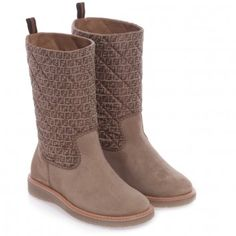 Fendi Girls Quilted 'FF' Boots at Childrensalon.com