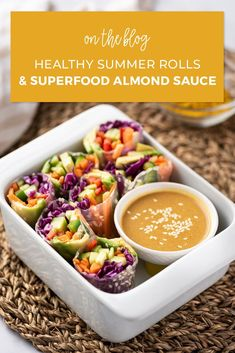 It's too hot to cook! But that doesn't mean you can't have a delicious snack or light meal. These summer rolls are easy to make and the superfood-packed Golden Almond Sauce will have you weak in the knees! Yummy Snacks, Healthy Snacks, Summer Rolls, Summer Dishes, Weight Loss Snacks, Healthy Sides, Healthy Summer, Diet Meal Plans