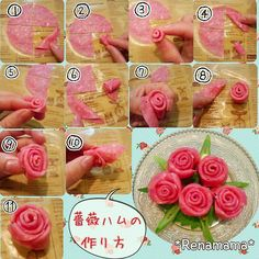 Beer ham roses made casually. Well, I was asked how to make it, so I put together the process ♪ Is it small and difficult to see? First, take one and cut it into a cross. Fold the lower right half in Cute Snacks, Cute Food, No Cook Meals, Kids Meals, Fruit Presentation, Meat Trays, Party Food Platters, Cute Bento, Food Carving