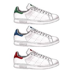 Good Objects - Adidas Stan Smith Green, Blue, Red ❤️ which one would you choose? #adidas #stansmith #goodobjects Watercolor illustration