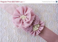 SALE Rosy MAUVE Vintage Chiffon rosette flower by RoseGardenBridal, $49.29