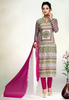 Printed Cotton Straight Suit in Multicolor