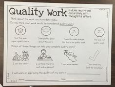 Encouraging Quality Student Work anchor charts and reflection FREEBIE! Homework Sheet, Future Classroom, Classroom Ideas, Teaching Tools, Teaching Ideas, Parent Communication, Teacher Inspiration, Positive Reinforcement, Student Work