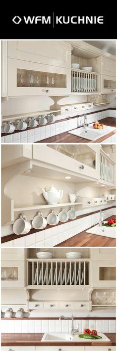 Rustykalno-prowansalska, słoneczna kuchnia Veronese, wykonana z dębu barwionego na jasny, beżowy kolor. Czas zaznaczył swoją obecność w postaci patyny odkładającej się we wgłębieniach drewnianych elementów. Liczne ozdobne detale jak rzeźbione głowice, panele, regały i listwy nadają kuchni wyjątkowego charakteru. Wnętrze szafek kryje nowoczesną technikę ułatwiającą codzienną pracę.