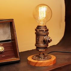 Industrial Table Lamp Indoor Old Bronze Finish and Round Base
