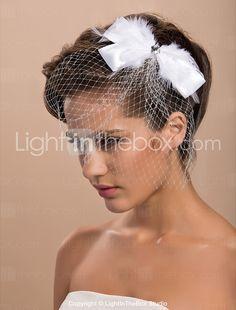 linda de noiva do casamento tule com capacete de penas e strass - BRL R$ 39,16