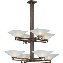 "$370  Nuvo Lighting 60/4408 Specifications:  Product Dimensions:   44.75""H x 35""W x 35""L  Nuvo Lighting 60/4408 Ratio Eight Light Two Tier Chandelier with Frosted Sand Glass, in Inca Gold Finish at LightingDirect.com."