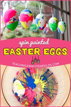 Toddlers and preschoolers love this spin art Easter egg activity. Grab your salad spinner to create colorful eggs and hang as a decoration! #Easter #egg #art #paint #decoration #craft #toddlers #preschool #2yearolds #3yearolds #teaching2and3yearolds Easter Craft Activities, Easy Easter Crafts, Toddler Learning Activities, Spring Activities, Easter Ideas, Salad Spinner, Easter Season, Spring Theme, Egg Art
