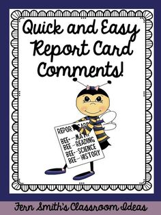 Need help with report card comments? Deadlines are crazy, but do you enjoy writing something sweet on each and every report card? Pin this post to have help with some quick and easy report card comments! Preschool Report Card Comments, Teacher Comments, Report Comments, Classroom Organization, Classroom Management, Classroom Ideas, Future Classroom, Classroom Procedures, Classroom Tools