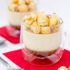 Caramel Popcorn Pots. Silky caramel topped with popcorn infused cream & crunchy caramel popcorn. Go on... you know you want to!