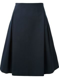 I particularly like the pleats, though they do make the skirt seem fuller.  Perhaps a straighter skirt.