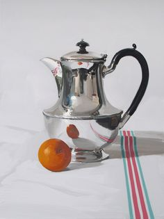 Alan Kingsbury RWA Coffee Pot with Mandarin oil on canvas 40 x 30 ins #art #painting #artist #painter #grey #silver #coffee #teatime #Saturday #weekend #britishart #buyart #interiordesign #design #talent #style