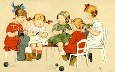 Little girls knitting sewing digital download of door polkyanddot