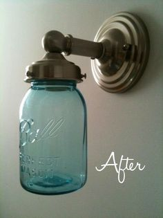 Mason-Jar light fixtures are a cheap way to light up a bathroom, or sports room or even a closet. Fancy, right?
