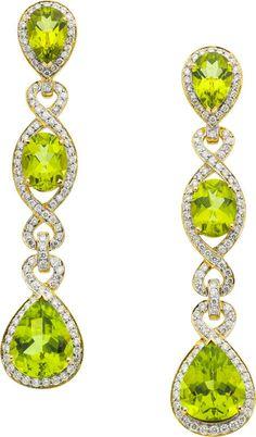 Peridot, Diamond, Gold Earrings by Eli Frei