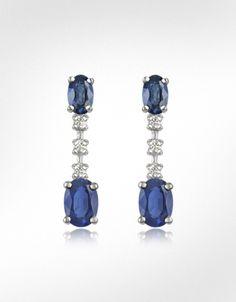 Incanto Royale Sapphire and Diamond 18K Gold Drop Earrings - wedding jewelery