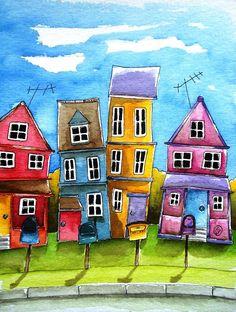 ACEO Print Watercolor Lucia Stewart folk art whimsical house home suburb Illustration Inspiration, Art And Illustration, Arte Pop, Naive Art, Whimsical Art, Home Art, Fine Art America, Watercolor Paintings, Watercolour