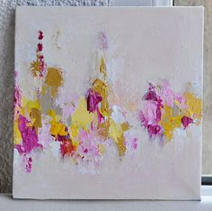 Original textured abstract painting by Maria Kitano (me)  This painting features delicate pastel tones of yellow, pink, white, gold.    Medium: Oil