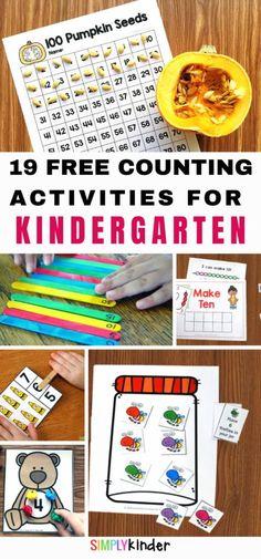 Counting Activities for Kindergart Fun Math Games, Counting Activities, Preschool Learning Activities, Preschool Math, Numbers Kindergarten, Teaching Kindergarten, Number Recognition Activities, Teaching Calendar, Classroom Freebies