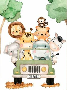 Safari Baby Shower Cake, Safari Party, Safari Theme, Safari Animals, Baby Animals, Scrapbook Bebe, Baby Animal Drawings, Baby Boy 1st Birthday Party, Baby Painting
