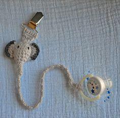 Crochet elephant pacifier holder by LEOyarn on Etsy, $10.00
