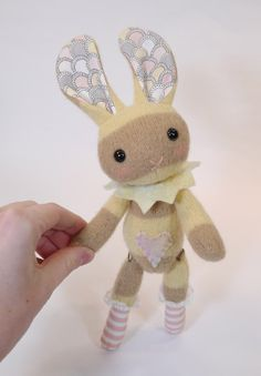 Button jointed vintage style plush  Bunny  No. 3 by LitheFider