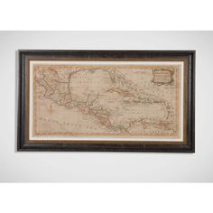 Ethan Allen Elongated West Indies Map ($2,379) ❤ liked on Polyvore featuring home, home decor, wall art, antique wall art, map wall art, ethan allen, antique home decor and map home decor
