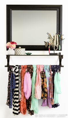 Forget big and bulky organization options! Try a neat and tidy dressing station to arrange scarves, jewelry and other accessories!