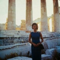 Jackie kennedy visits the ruins of the Acropolis where she voiced her support for England to return the Elgin marbles to Greece, June 1961