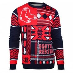 Boston Red Sox Patches Crew Neck Ugly Sweater (Navy)