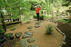 Nice stone edging around a gravel area in a Japanese garden.