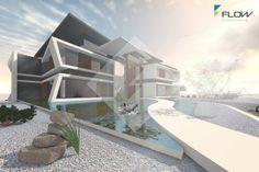 Designstudie für ein Mehrfamilienhaus in expressiver Architektursprache. by www.flow-architektur.de