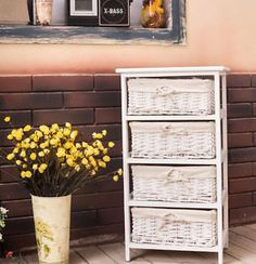 Large-White-4-Basket-Chest-Home-Storage-Unit-Bathroom-Wicker-Drawers