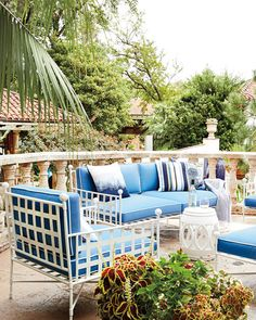 Shop Avery Sofa, White/Blue at Horchow, where you'll find new lower shipping on hundreds of home furnishings and gifts. Outdoor Rooms, Outdoor Dining, Outdoor Sofa, Outdoor Furniture Sets, Outdoor Decor, Porche Shabby Chic, Painted Couch, Patio Deck Designs, Patio Ideas