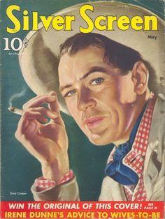 "Gary Cooper ~ ""Silver Screen"" magazine, May 1940..."
