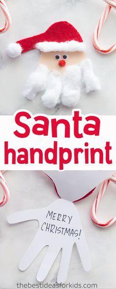 This Santa Handprint Card is such a cute kids Christmas craft! #christmas #handprint #santa #santacraft #christmascraft #kidscraft via @bestideaskids
